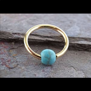 Jewelry - Turquoise 14k gold hoop